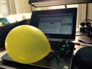 Balloon on keyboard for blog